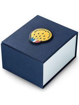 écrin bleu nuit fermé de montre, marque Patrouille de France