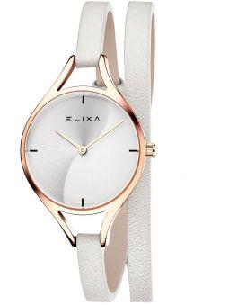 Montre femme Elixa bracelet double tours cuir blanc