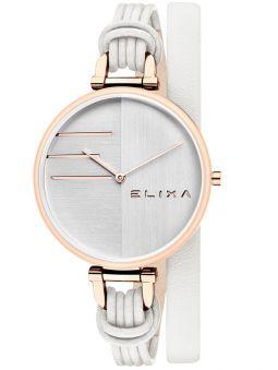 Montre femme Elixa cuir blanc bracelet double