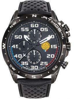 Montre homme Patrouille de France Athos 4 Charognard Chronographe bracelet cuir noir