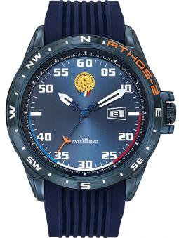 Montre homme Patrouille de France Athos 2 acier PVD bleu bracelet silicone bleu