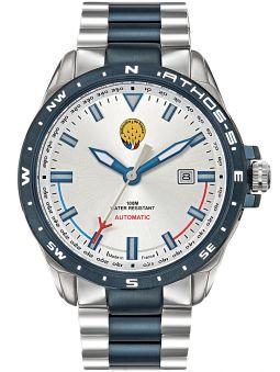 Montre homme Patrouille de France automatique Athos 5 bracelet acier bleu et gris