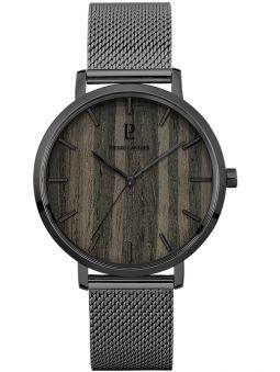 Montre homme Pierre Lannier Nature acier noir fond bois