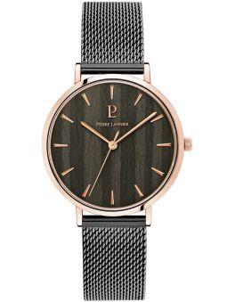 Montre femme Pierre Lannier Nature acier PVD noir bracelet milanais