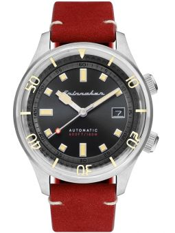 Montre homme SPINNAKER BRADNER AUTOMATIC automatique cuir rouge