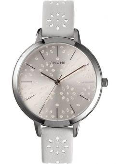 Montre femme Oui & Me amourette bracelet fleurs cuir blanc