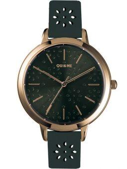 Montre femme Oui & Me amourette bracelet fleurs cuir noir