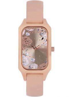 Montre femme Oui & Me finette bracelet cuir boitier doré rose