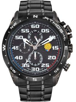Montre homme Patrouille de France Athos 4 Charognard Chronographe bracelet acier Pvd noir