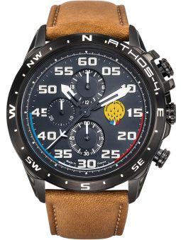 Montre homme Patrouille de France Athos 4 Charognard Chronographe bracelet cuir marron lisse