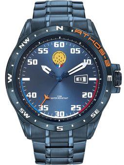 Montre homme Patrouille de France Athos 2 acier PVD bleu bracelet métal