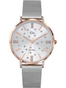 Montre femme Go bracelet milanais pierres blanches fond blanc