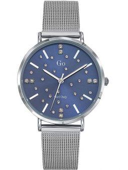 Montre femme Go bracelet milanais pierres blanches fond bleu