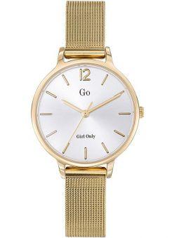 Montre femme Go bracelet milanais doré jaune fond blanc