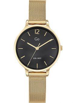 Montre femme Go bracelet milanais doré jaune fond noir
