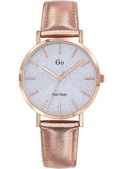 Montre femme Go bracelet cuir rose métallisé