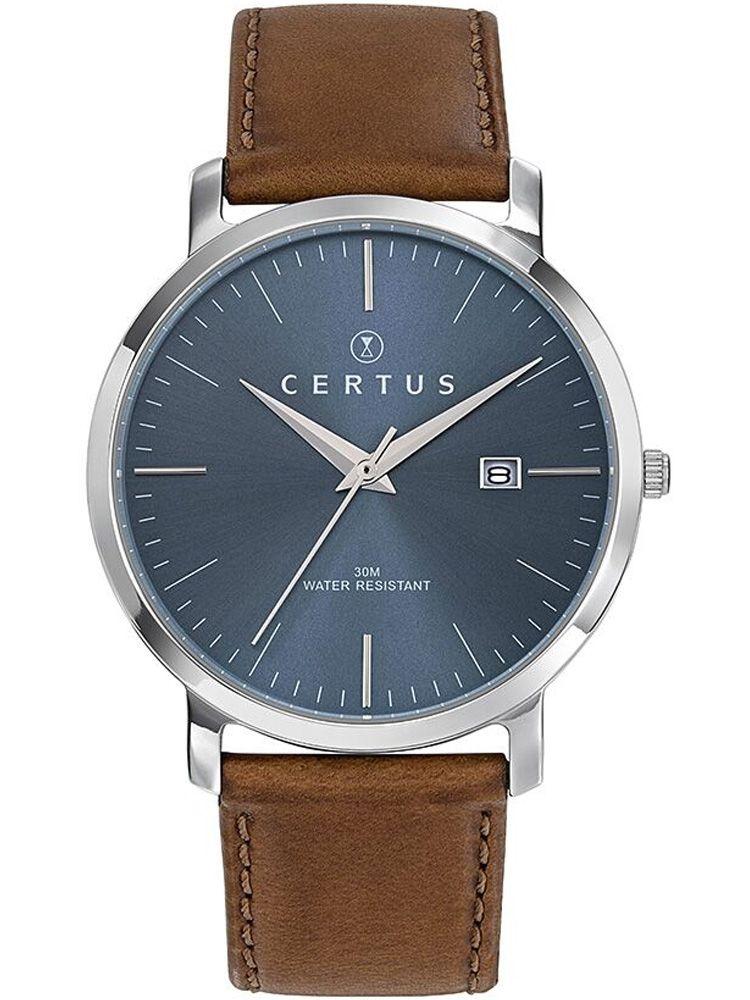 Montre homme Certus bracelet cuir brun fond bleu