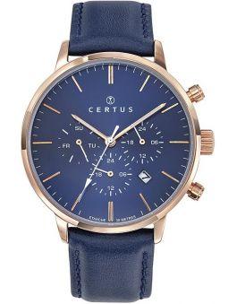 Montre homme Certus cuir bleu chronographe