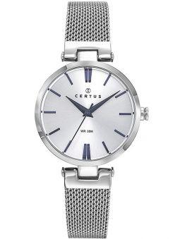 Montre femme Certus argentée bracelet milanais index bleus