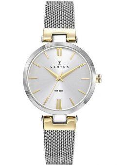Montre femme Certus bicolore jaune bracelet milanais