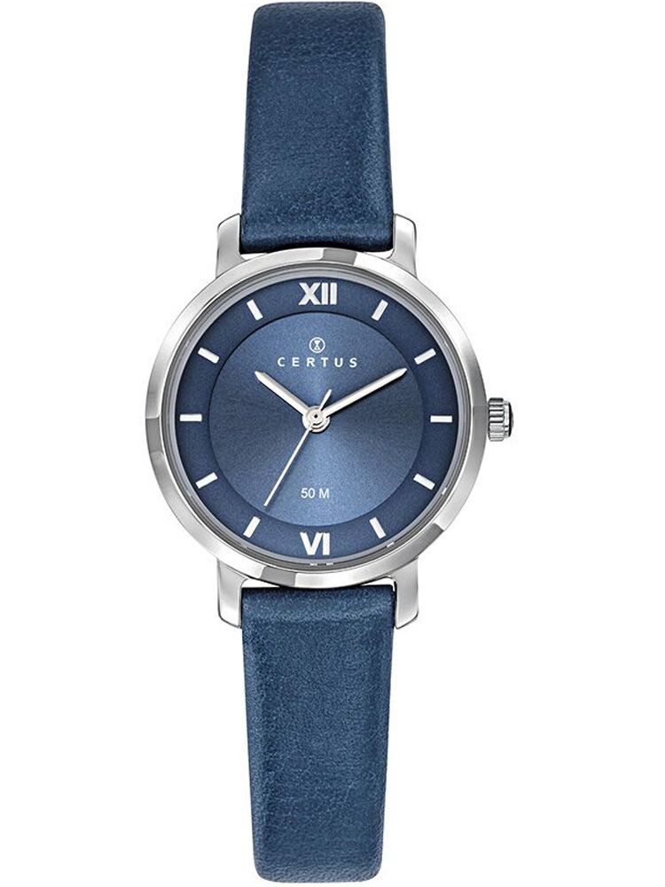 Montre Certus femme bracelet cuir bleu fond bleu