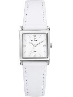 Montre Certus femme carrée bracelet cuir blanc