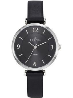 Montre Certus femme bracelet cuir noir