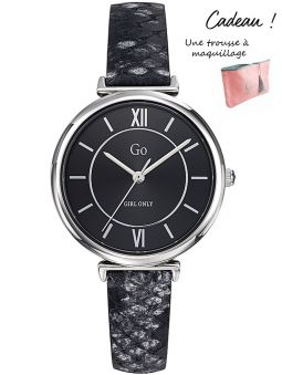 Montre GO Girl Only cuir noir peau de serpent
