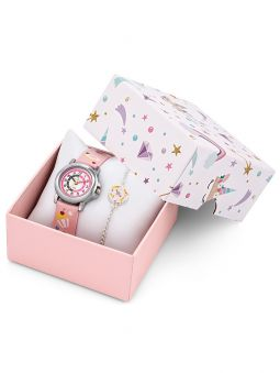 Coffret montre enfant Certus rose gourmandise + bracelet