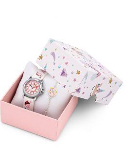 Coffret montre enfant Certus blanche gourmandise + bracelet