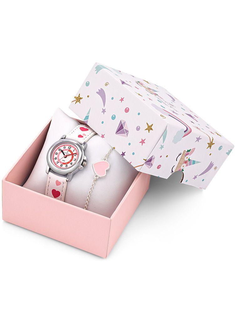 Coffret montre enfant Certus blanche coeurs roses + bracelet