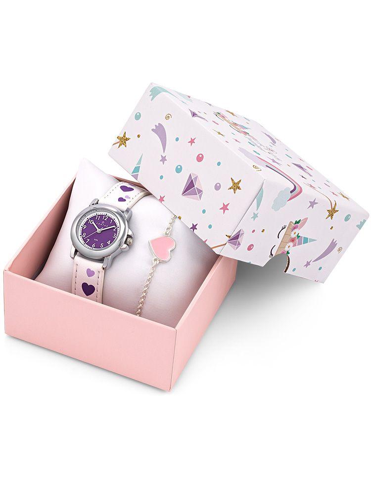 Coffret montre enfant Certus blanche coeurs violets + bracelet
