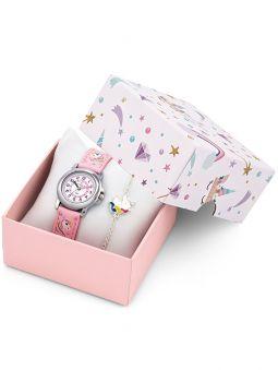 Coffret montre enfant Certus bracelet rose licorne + bracelet