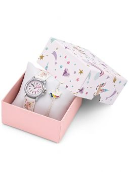 Coffret montre enfant Certus bracelet blanc licorne + bracelet