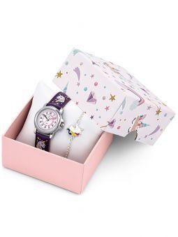 Coffret montre enfant Certus bracelet viol:et licorne + bracelet