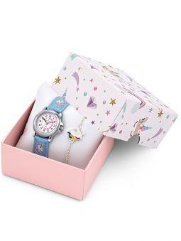 Coffret montre enfant Certus bracelet bleu licorne + bracelet