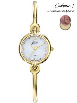 Montre femme dorée Certus Joalia bracelet fin fond nacré