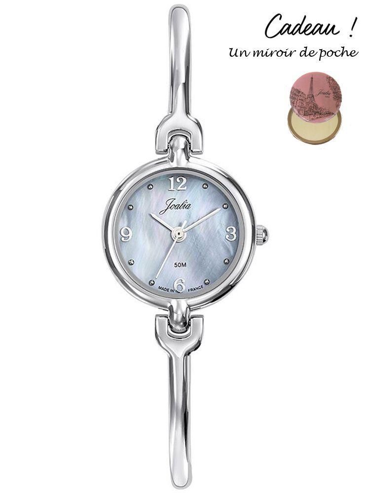 Montre femme Certus Joalia bracelet fin fond nacre bleu