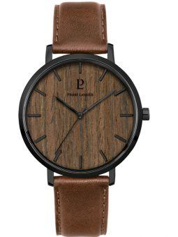 Montre homme Pierre Lannier Nature cuir brun fond bois