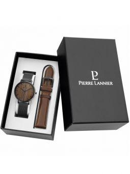 Coffret montre homme Pierre Lannier Nature 2 bracelets et boitier acier fond bois