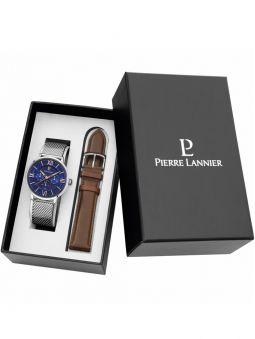 Coffret montre homme Pierre Lannier 2 bracelets et boitier acier fond noir