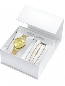 Coffret de montre Pierre Lannier dorée jaune et bracelet bijou