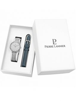 Coffret de montre Pierre Lannier 2 bracelets cuir et acier
