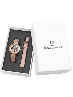 Coffret de montre Pierre Lannier automatique rose 2 bracelets cuir et acier