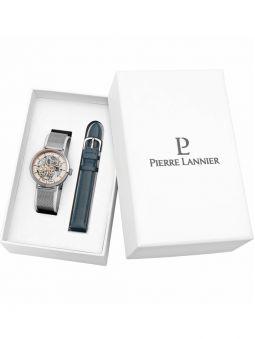 Coffret de montre Pierre Lannier automatique acier 2 bracelets cuir et acier