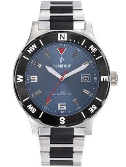 Montre homme Ruckfield bracelet acier gris et noir fond bleu