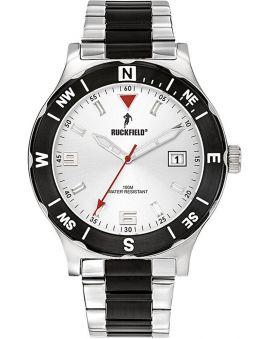 Montre homme Ruckfield bracelet acier gris et noir fond blanc