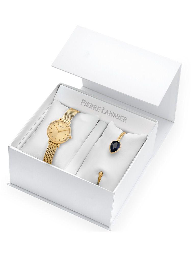 Coffret de montre Pierre Lannier Emma & Chloé dorée jaune et bracelet bijou 355C548_1