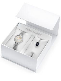 Coffret de montre Pierre Lannier Emma & Chloé acier et bracelet bijou 354G628_1