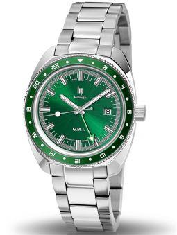 Montre LIP MARINIER GMT bracelet acier fond vert 671374_1